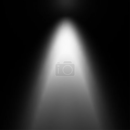 Illustration for White Light Beam from Projector on Black Background - Royalty Free Image