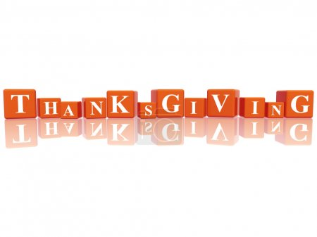 Photo for 3d orange cubes with letters makes Thanksgiving - Royalty Free Image