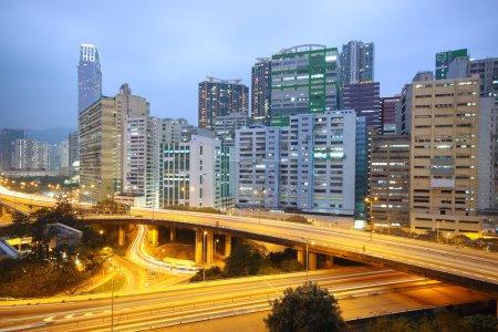 Traffic bridge at night