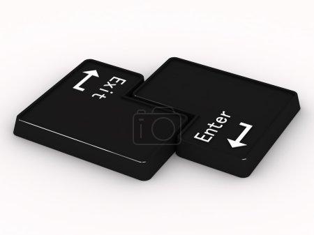 Dos botones negros entran y salen sobre fondo blanco. 3D