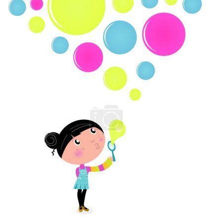 Cute little Girl blowing Soap bubbles isolated on white