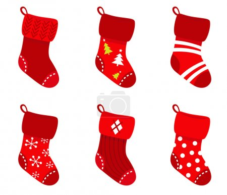 Red retro Christmas Socks collection isolate on white