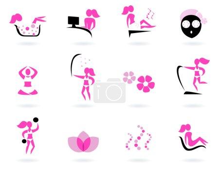 Spa, wellness & sport icons ( pink, black )