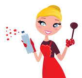 Beautiful blond Woman in red apron cleaning and cooking for Christmas Vector
