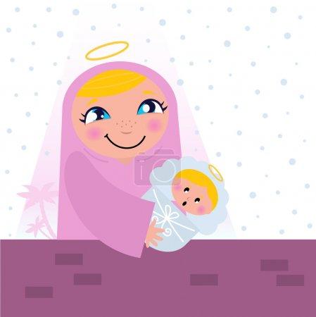 Illustration for Nativity Bethlehem scene: Virgin Mary and Baby Jesus. - Royalty Free Image