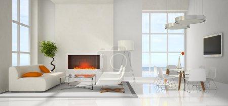 Foto de Vistas panorámicas sobre el renderizado 3d interior moderno - Imagen libre de derechos