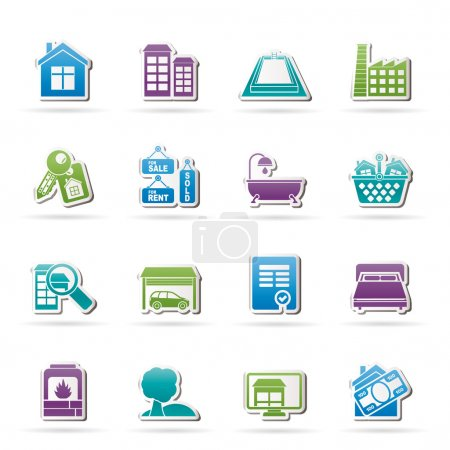 Real Estate objects and Icons - Vector Icon Set...