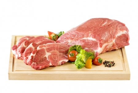 Photo for Raw neck of pork on a cutting board - Royalty Free Image