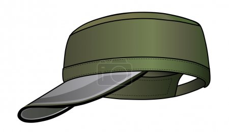 Illustration for Green military cap vector illustration isolated on white. EPS8 file available. You can change the color or you can add your logo easily. - Royalty Free Image