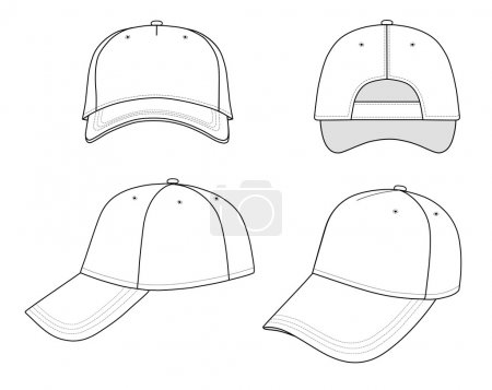 Illustration for Outline cap vector illustration isolated on white. EPS8 file available. You can change the color or you can add your logo easily. - Royalty Free Image