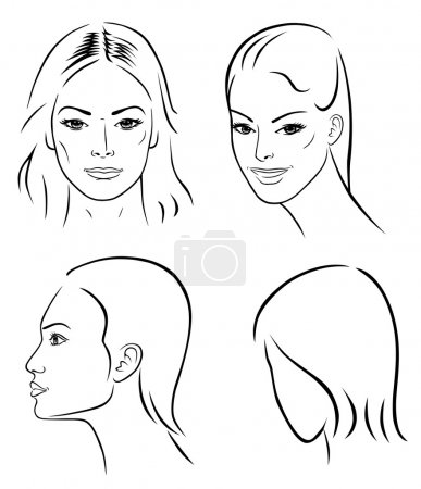 Illustration for Four woman outline faces isolated on white - Royalty Free Image