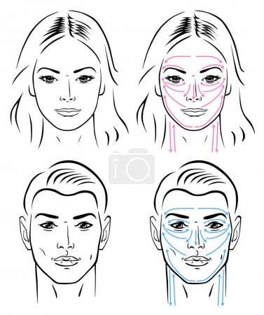 Illustration for Closeup portrait of a young man and a young woman standing with massaging lines. - Royalty Free Image