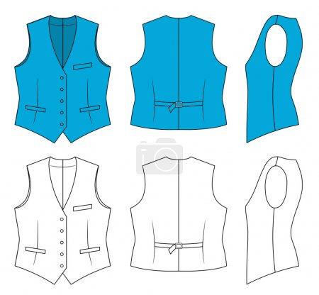 Woman blue waistcoat