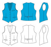 Outline blue waistcoat vector illustration isolated on white EPS8 file available