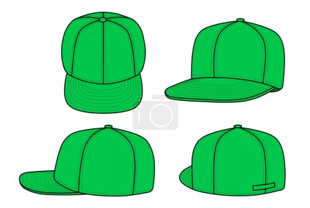 Illustration for Outline rap cap vector illustration isolated on white. EPS8 file available. You can change the color or you can add your logo easily. - Royalty Free Image