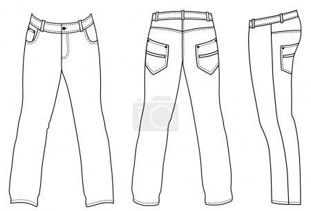 Man's jeans (front, back, side views)