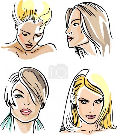 Illustration pour Visages de femme (illustration vectorielle) ) - image libre de droit