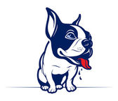 Cartoon style french bulldog smile