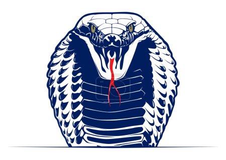 Illustration pour Style dessin animé cobra serpent visage - image libre de droit