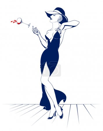 Illustration for Pretty young woman in evening dress drinking cocktail - Royalty Free Image