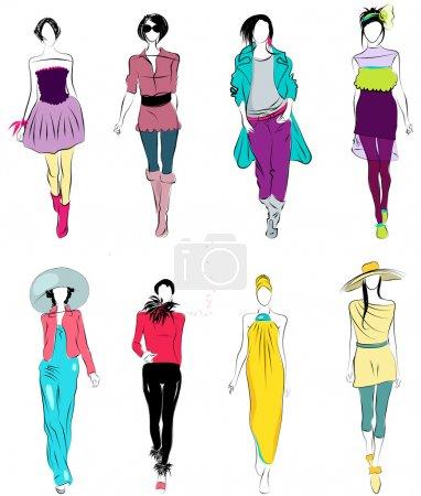 Illustration pour Ensemble vectoriel d'illustrations élégantes et stylisées de modèles de mode - image libre de droit