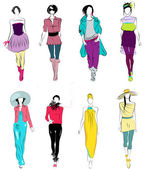 Vector set of elegant stylized fashion models illustration