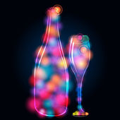 Glittering champagne bottle and glass