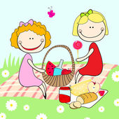 Vector illustration of hand drawn style cute girls on a summer picnic