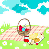 Vector illustration of hand drawn style cute summer picnic basket on meadow