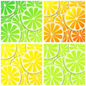 Set of citrus fruit background illustrations