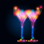 Glittering champagne glasses