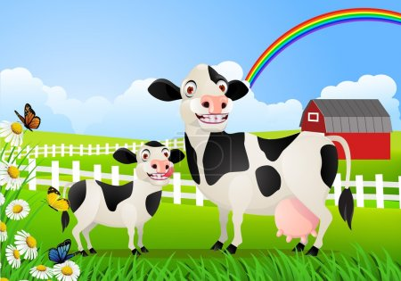 Cow family in pasture