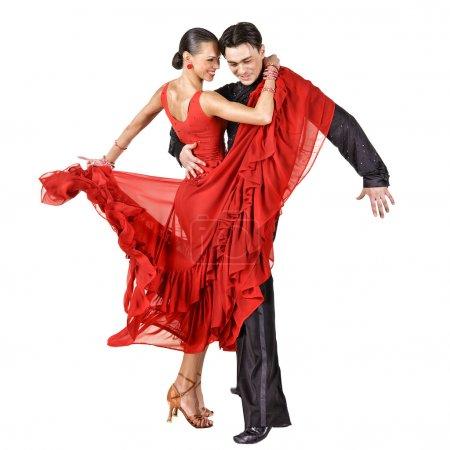 Photo pour Latino, danse, mode de vie, sexy, solde, salsa, blanc, emotion, adulte, expression, chaud, déplacer, fille, action, jolie, femme, divertissement, isolé, art, samba - image libre de droit