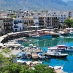 Seashore with a pier. Tourist center of Kyrenia, C...