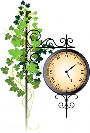 Street clock braided with ivy
