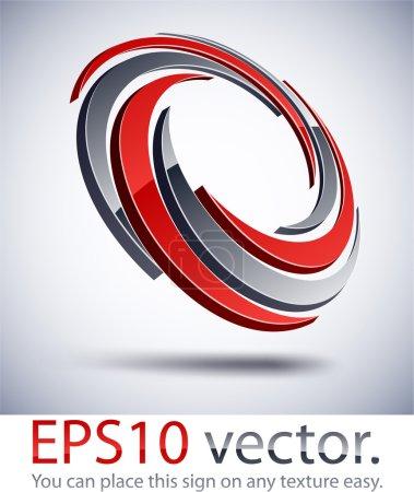 Illustration pour Illustration vectorielle du logo commercial abstrait de la roue 3D . - image libre de droit