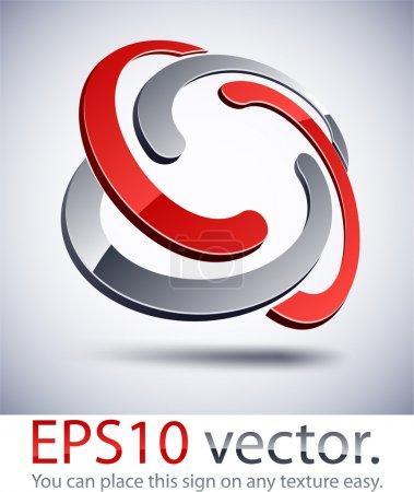 3D modern braided logo icon.