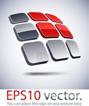 Illustration pour Illustration vectorielle du logo commercial abstrait de la batterie solaire 3D . - image libre de droit