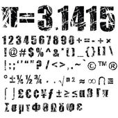 A set of personalised grunge numbers and symbols to use vectors isolated on white checked my profile with another alphabets set