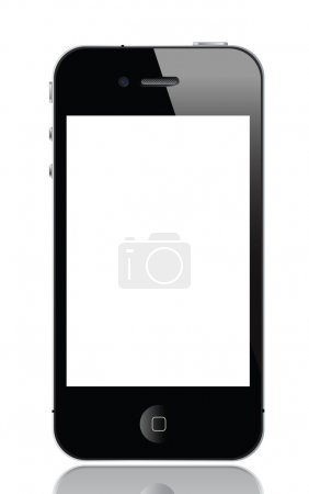 Black Mobile Phone Similar To iPhone Isolated On White, vector format.