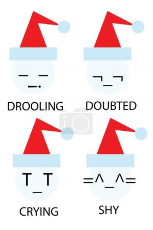 Illustration for Christmas icons of snowman as emoticons smiley - Royalty Free Image