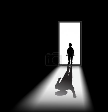 To illustrate a nightmare of kid, the shadow of hi...