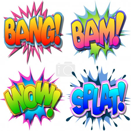 Illustration for A Selection of Comic Book Illustrations Bang Bam Wow Splat - Royalty Free Image