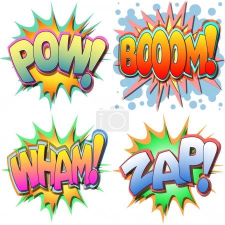 Illustration pour Une sélection d'illustrations dessinées pow, boom, wham, zap - image libre de droit