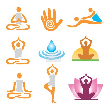 Illustration for Set of yoga massage and spa icons. Vector illustration. - Royalty Free Image