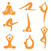 Icons of eight different yoga positions Vector illustration