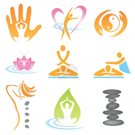 Illustration for Set of massage , wellnes and spa icons. Vector illustration. - Royalty Free Image