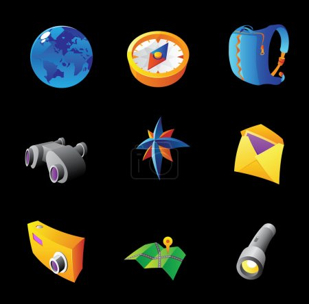 Illustration for Icons for travel and tourism. Black background. Vector illustration. - Royalty Free Image
