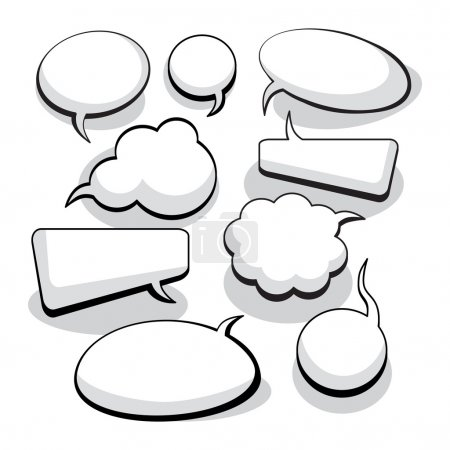 Illustration for Speech And Thought Bubbles With Space For Text - Royalty Free Image