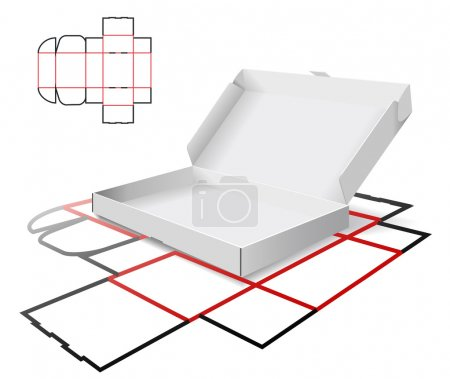 Illustration for The carton and cutting scheme is shown in the picture. - Royalty Free Image